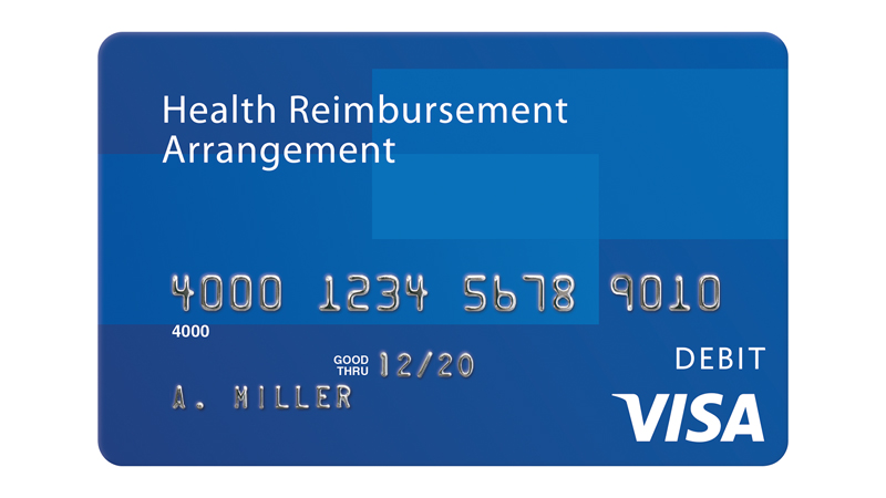 Visa Health Reimbursement Arrangement debit card.