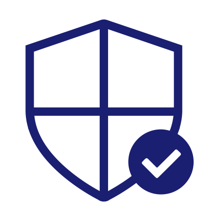 Illustration of a shield with a checkmark in the corner representing trusted transactions.