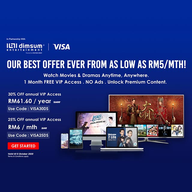 All Visa cardholders enjoy discount off subscription fee.